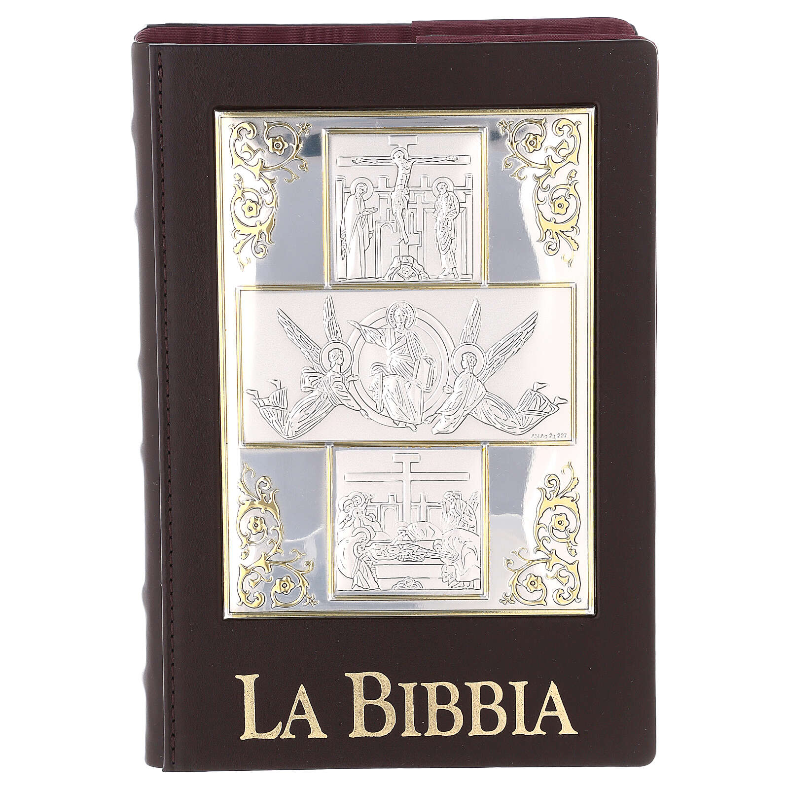 Bible cover with The Resurrection silver plated plate 4