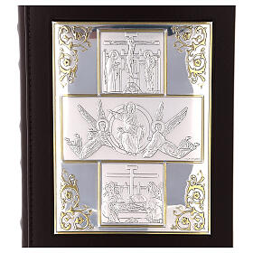 Bible cover with The Resurrection silver plated plate s2