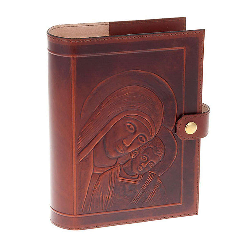 Custodia Bibbia vera pelle Cristo Madonna Bimbo 4
