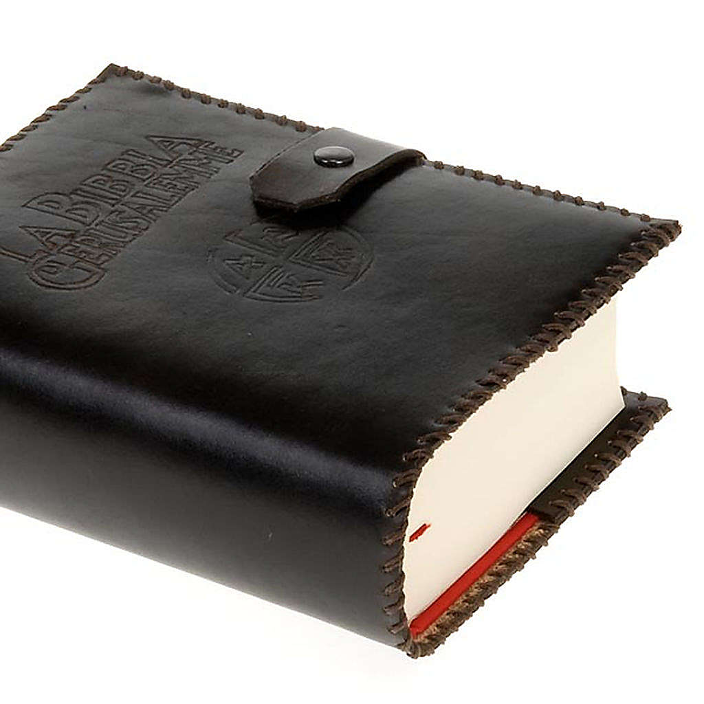 Custodia cuoio Bibbia Gerusalemme marrone scuro 4