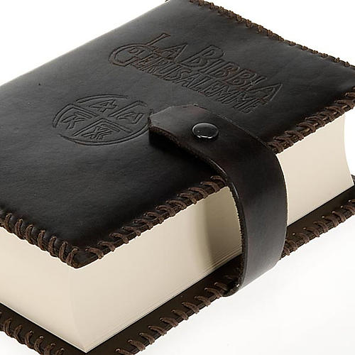 Custodia cuoio Bibbia Gerusalemme marrone scuro 2