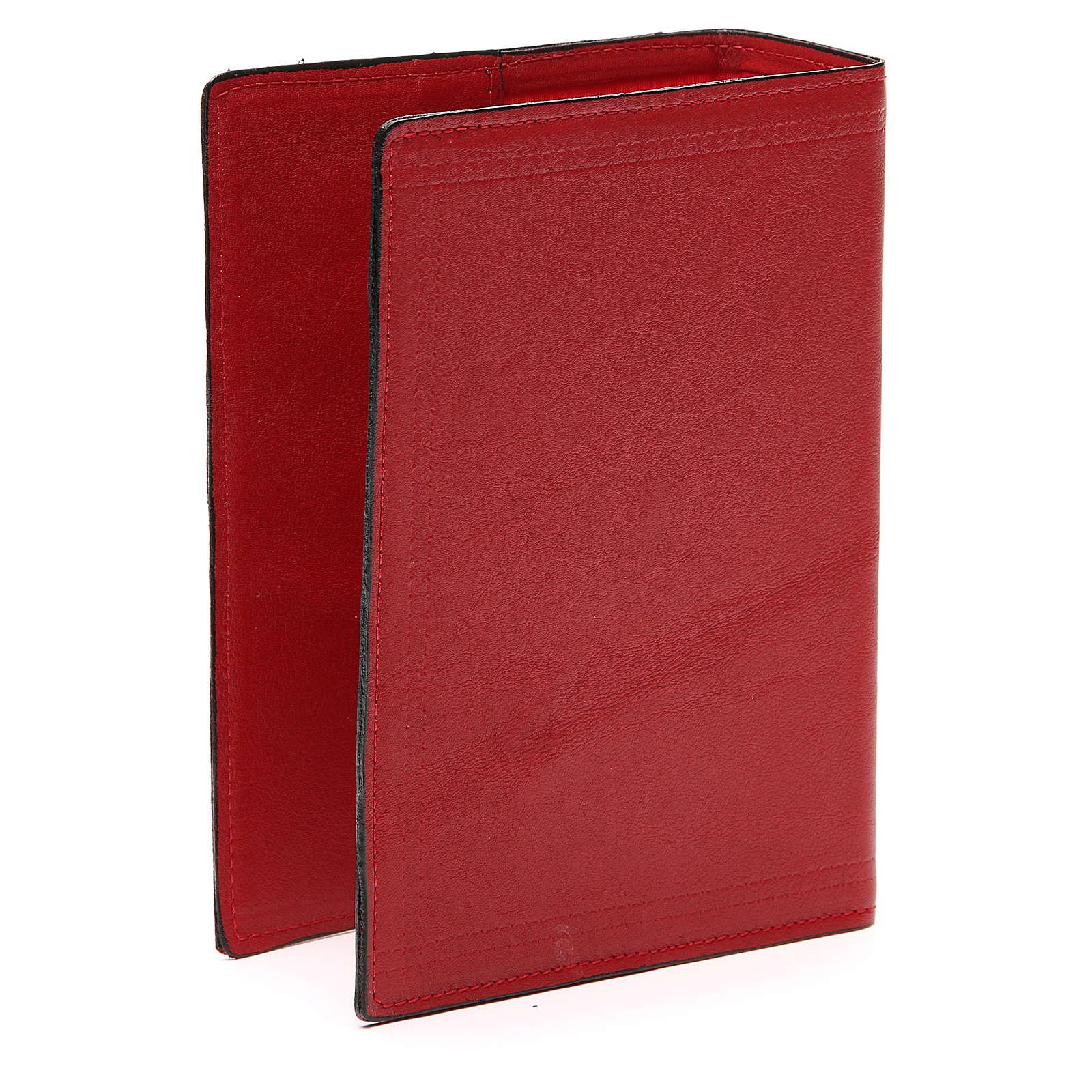 Couverture Bible Jérusalem IHS croix cuir rouge 4