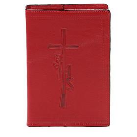 Couverture Bible Jérusalem IHS croix cuir rouge s1
