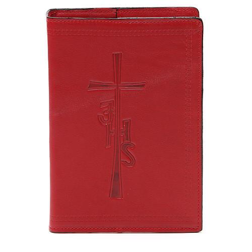 Couverture Bible Jérusalem IHS croix cuir rouge 1