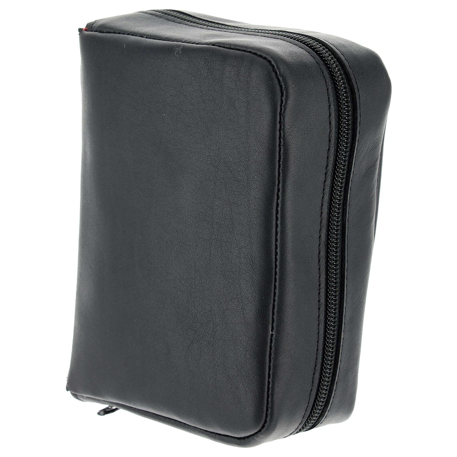 Custodia Bibbia Gerusalemme tascabile nera pelle zip 4