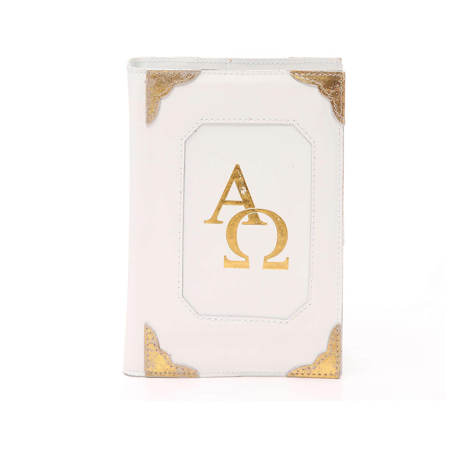 Custodia Bibbia Gerusalemme pelle bianca alfa omega 4