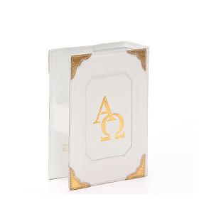 Custodia Bibbia Gerusalemme pelle bianca alfa omega s3