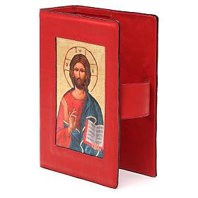 Custodia Bibbia Ger. Pelle rossa Pantocratore Pictografia