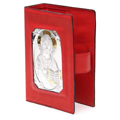 Custodia Bibbia Ger. magnetica Gesù metallo rossa 2