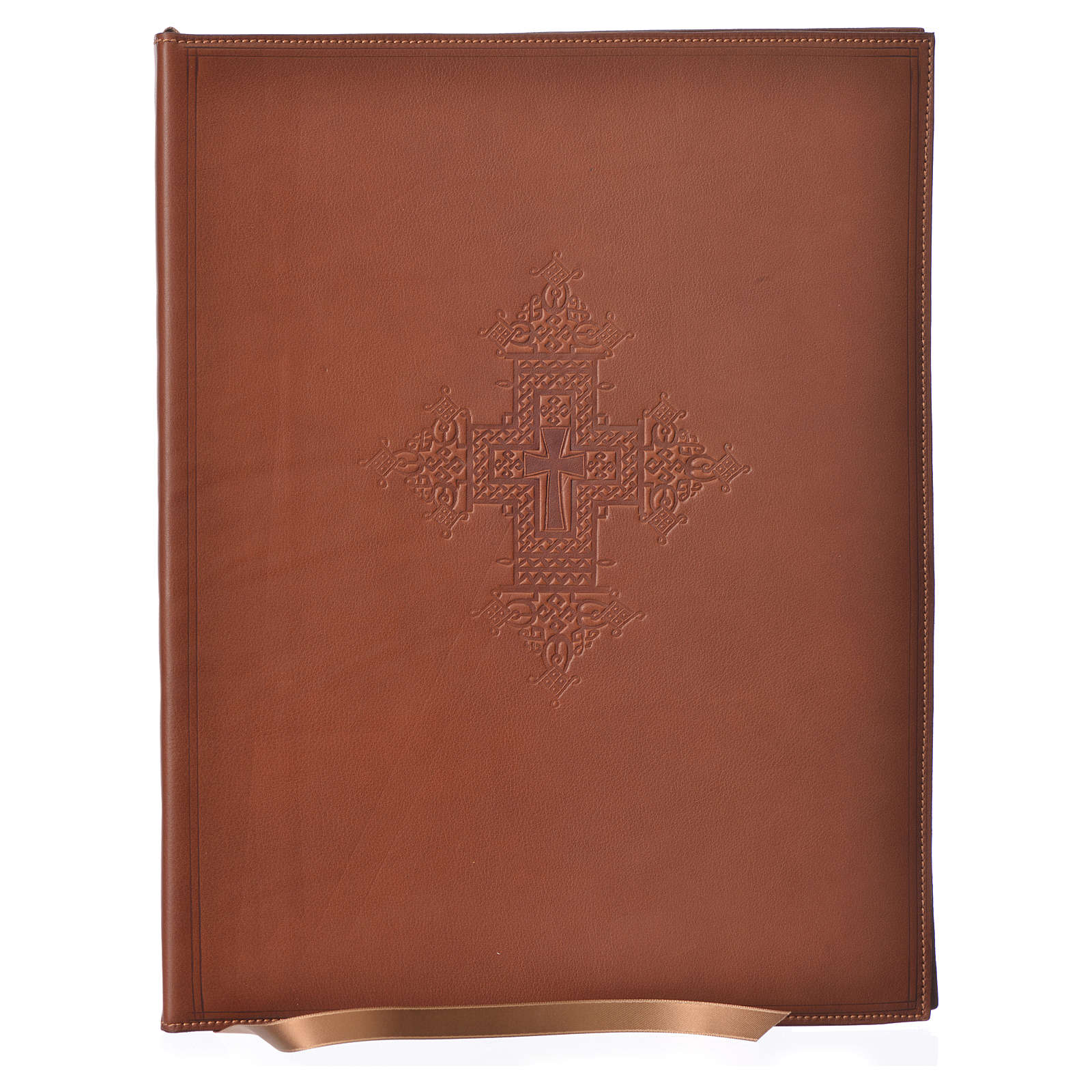 Folder for Sacred Rites in Brown Leather with Hot pressed Cross Bethleem, A4 size 4