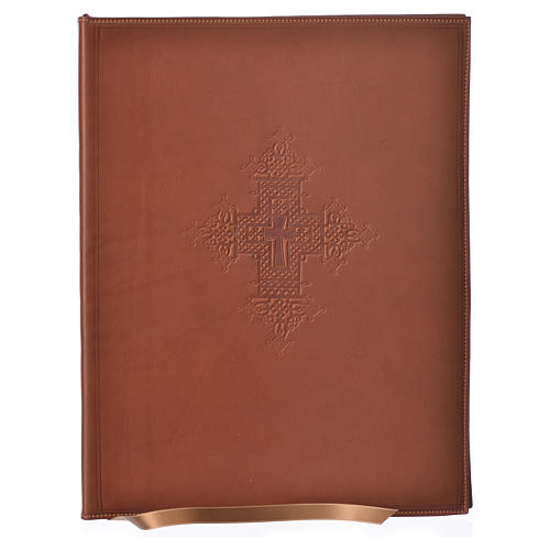 Folder for Sacred Rites in Brown Leather with Hot pressed Cross Bethleem, A4 size 1