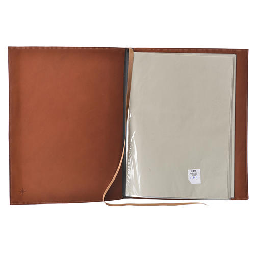 Folder for Sacred Rites in Brown Leather with Hot pressed Cross Bethleem, A4 size 3