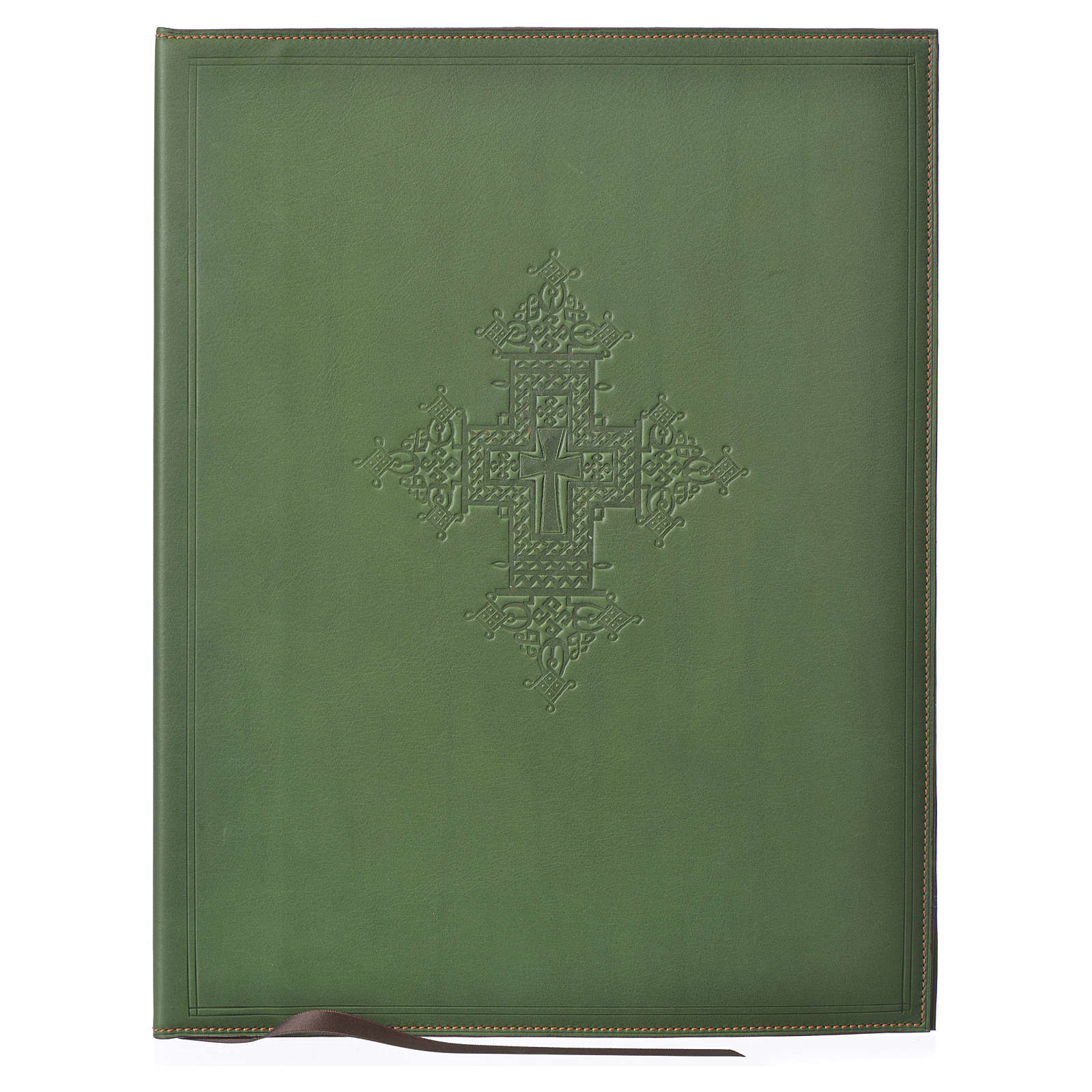 Leather Green Folder for sacred rites with Hot Pressed Cross Bethlehem, A4 size 4