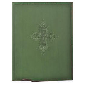 Leather Green Folder for sacred rites with Hot Pressed Cross Bethlehem, A4 size s1