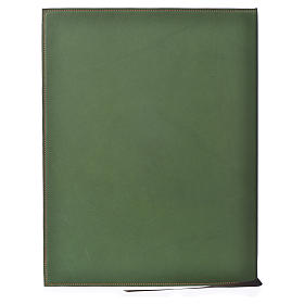 Leather Green Folder for sacred rites with Hot Pressed Cross Bethlehem, A4 size s2