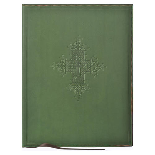 Leather Green Folder for sacred rites with Hot Pressed Cross Bethlehem, A4 size 1