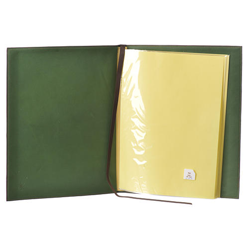 Leather Green Folder for sacred rites with Hot Pressed Cross Bethlehem, A4 size 3