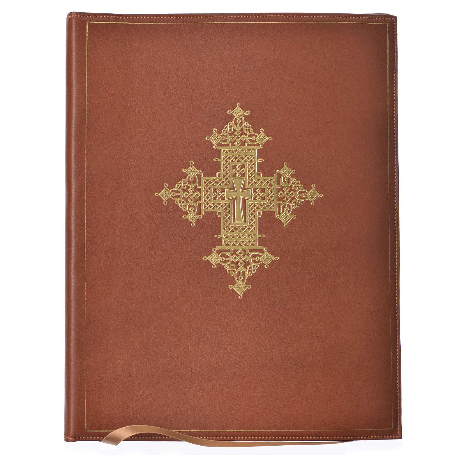 Folder for sacred rites in brown leather, hot pressed golden cross Bethleem, A4 size 4