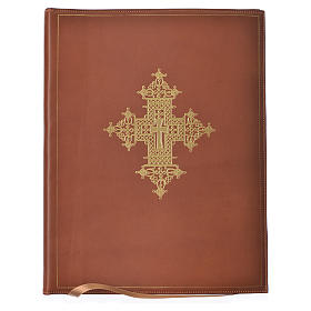Folder for sacred rites in brown leather, hot pressed golden cross Bethleem, A4 size s1