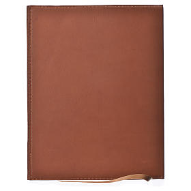 Folder for sacred rites in brown leather, hot pressed golden cross Bethleem, A4 size s2