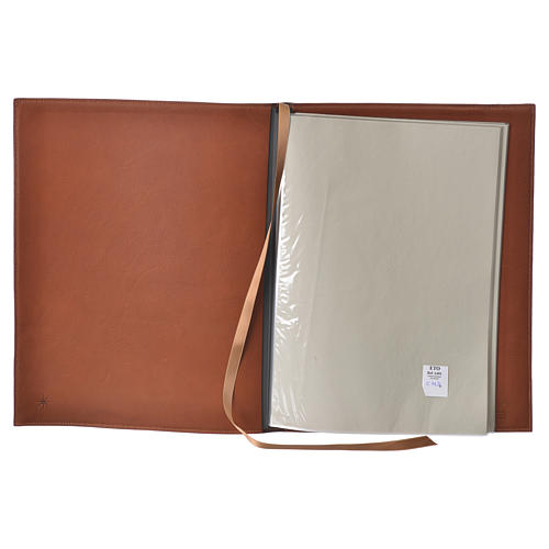 Folder for sacred rites in brown leather, hot pressed golden cross Bethleem, A4 size 3
