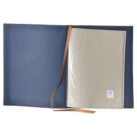 Folder for sacred rites in blue leather, hot pressed golden cross Bethleem, A4 size s3