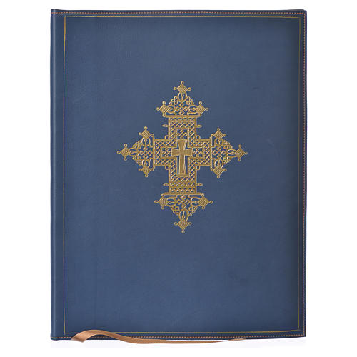 Folder for sacred rites in blue leather, hot pressed golden cross Bethleem, A4 size 1
