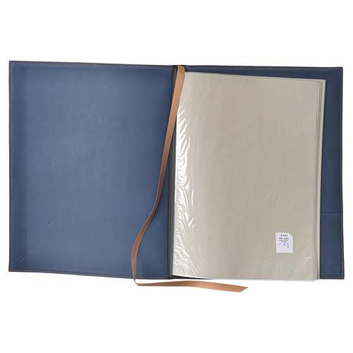 Folder for sacred rites in blue leather, hot pressed golden cross Bethleem, A4 size 3