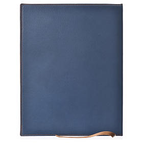 Folder for sacred rites in blue leather, hot pressed golden cross Bethleem, A4 size s2