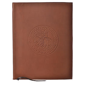 Folder for sacred rites in brown leather, hot pressed lamb Bethleem, A4 size s1
