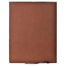 Folder for sacred rites in brown leather, hot pressed lamb Bethleem, A4 size s2