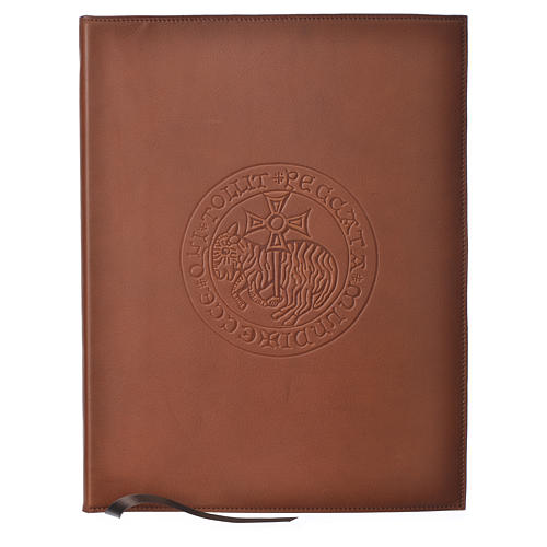 Folder for sacred rites in brown leather, hot pressed lamb Bethleem, A4 size 1
