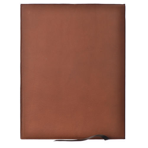 Folder for sacred rites in brown leather, hot pressed lamb Bethleem, A4 size 2