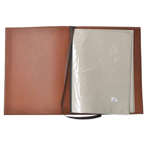Folder for sacred rites in brown leather, hot pressed lamb Bethleem, A4 size 3