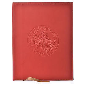 Folder for sacred rites in red leather, hot pressed lamb Bethleem, A4 size s1