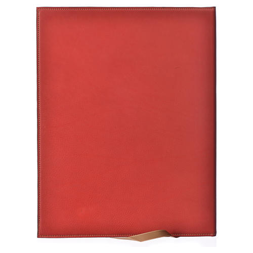 Folder for sacred rites in red leather, hot pressed lamb Bethleem, A4 size 2