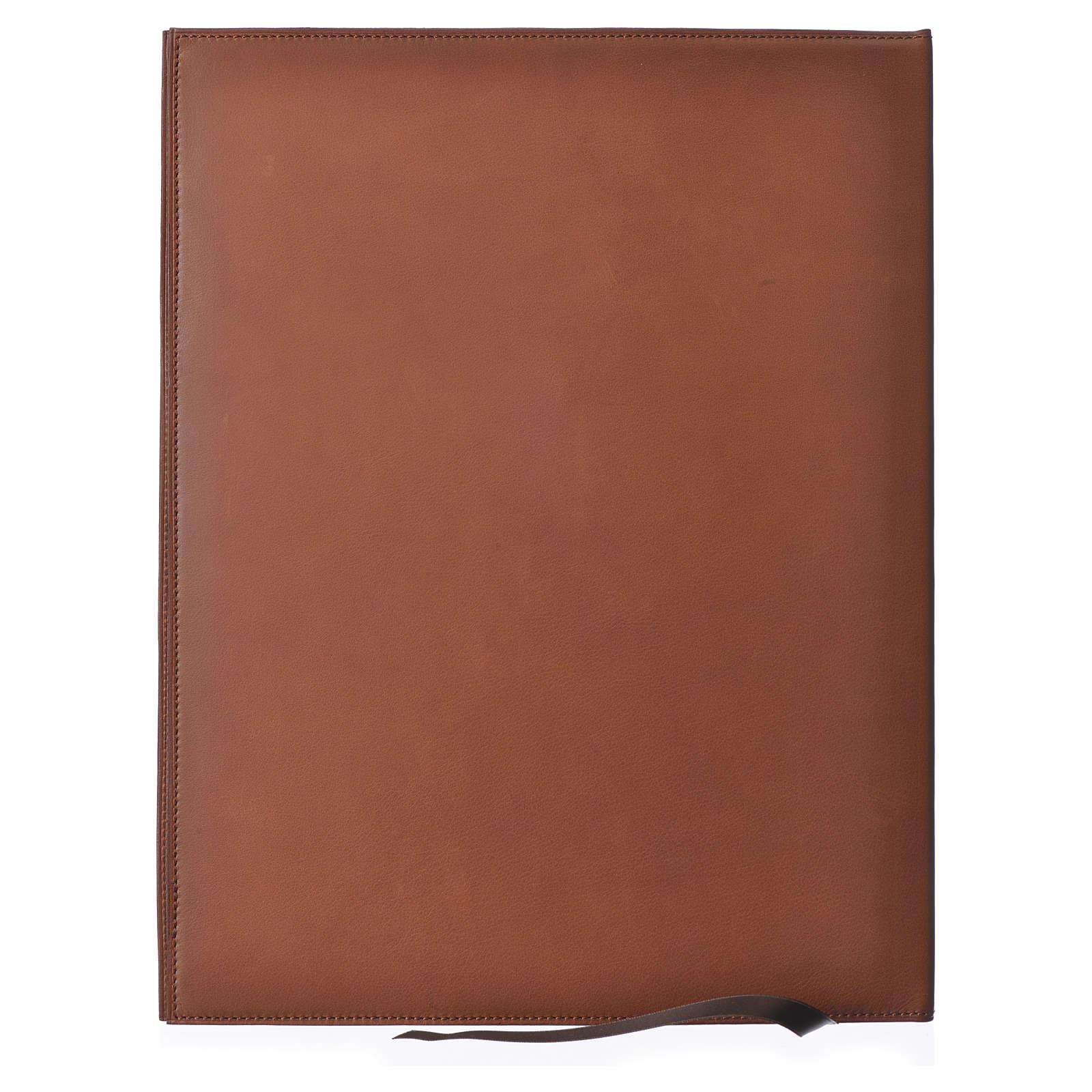 Folder for sacred rites in brown leather, hot pressed golden lamb Bethleem, A4 size 4