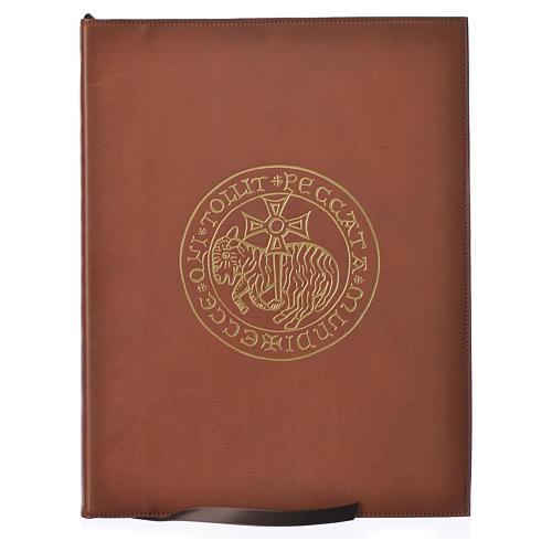 Folder for sacred rites in brown leather, hot pressed golden lamb Bethleem, A4 size 1