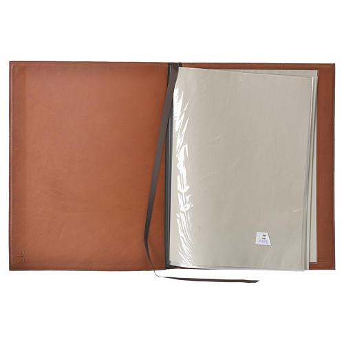 Folder for sacred rites in brown leather, hot pressed golden lamb Bethleem, A4 size 3