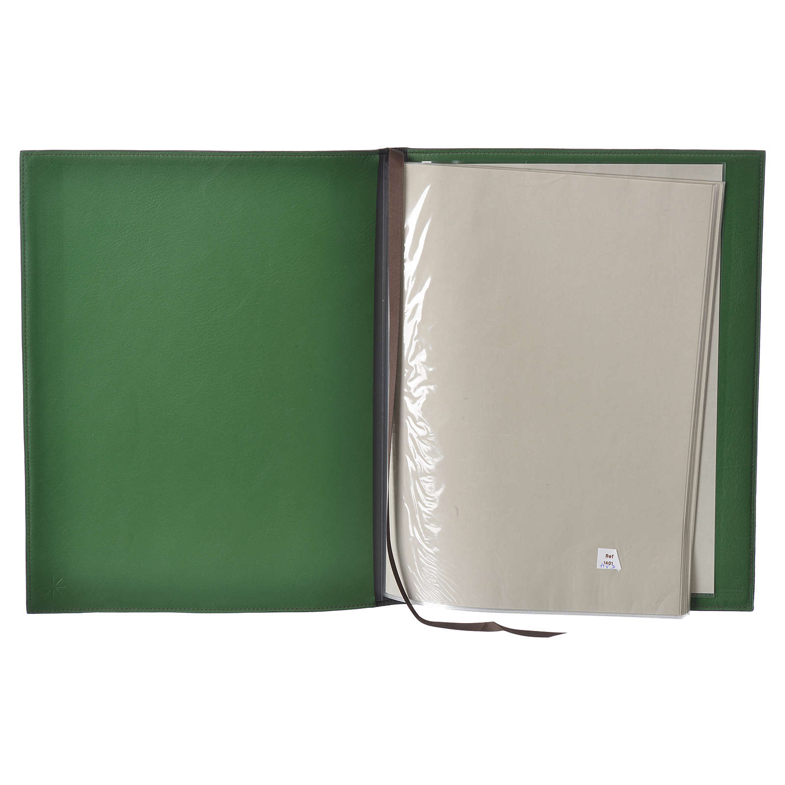 Folder for sacred rites in green leather, hot pressed golden lamb Bethleem, A4 size 4