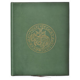 Folder for sacred rites in green leather, hot pressed golden lamb Bethleem, A4 size s1