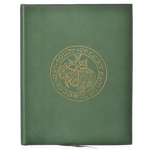 Folder for sacred rites in green leather, hot pressed golden lamb Bethleem, A4 size 1