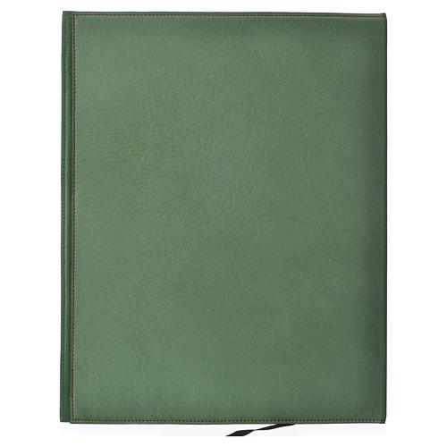 Folder for sacred rites in green leather, hot pressed golden lamb Bethleem, A4 size 2