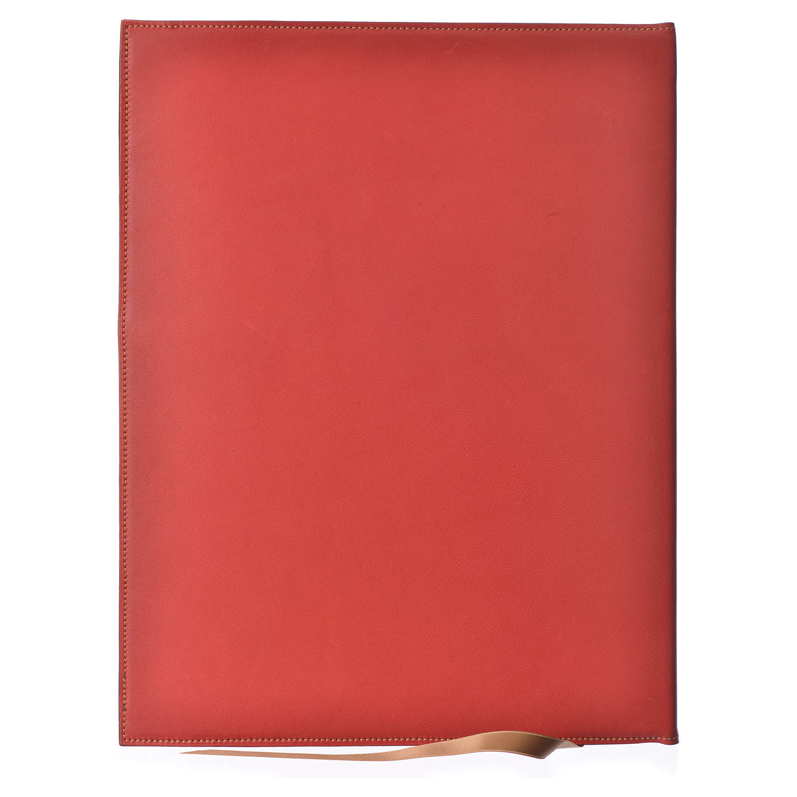 Folder for Sacred Rites in Red Leather with Hot Pressed Golden Lamb Bethlehem, A4 size 4