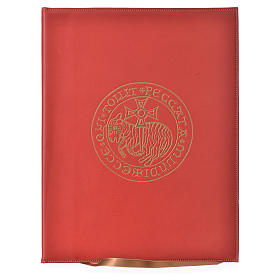 Folder for Sacred Rites in Red Leather with Hot Pressed Golden Lamb Bethlehem, A4 size s1