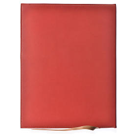 Folder for Sacred Rites in Red Leather with Hot Pressed Golden Lamb Bethlehem, A4 size s2