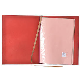 Folder for Sacred Rites in Red Leather with Hot Pressed Golden Lamb Bethlehem, A4 size s3
