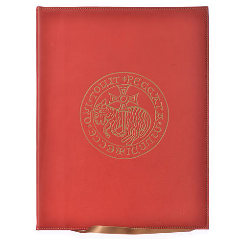 Folder for Sacred Rites in Red Leather with Hot Pressed Golden Lamb Bethlehem, A4 size 1