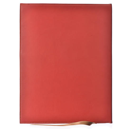 Folder for Sacred Rites in Red Leather with Hot Pressed Golden Lamb Bethlehem, A4 size 2