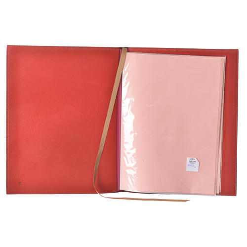 Folder for Sacred Rites in Red Leather with Hot Pressed Golden Lamb Bethlehem, A4 size 3